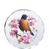Wild Wings Country Garden Robin Oval Beveled Edge Glass Ornament