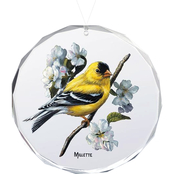 Wild Wings Spring Goldfinches Oval Beveled Edge Glass Ornament