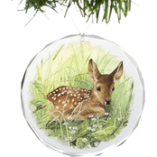Wild Wings Fawn Waiting for Mom Round Beveled Edge Glass Ornament