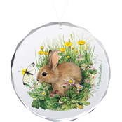 Wild Wings Bunny Springtime Snack Round Beveled Edge Glass Ornament