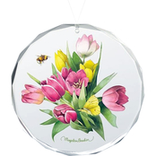 Wild Wings Tulip Treasure Round Beveled Edge Glass Ornament
