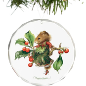 Wild Wings Vera the Mouse Takes a Rest Round Beveled Edge Glass Ornament