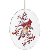 Wild Wings Winter Jewels Cardinals Oval Beveled Edge Glass Ornament