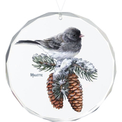 Wild Wings Winter Gems Junco Round Beveled Edge Glass Ornament