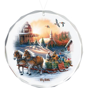 Wild Wings Pleasures of Winter Round Beveled Edge Glass Ornament