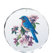 Wild Wings Springtime Jewels Bluebird Oval Beveled Edge Glass Ornament