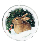 Wild Wings Snowy Cheer Bunny Round Beveled Edge Glass Ornament