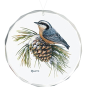Wild Wings Winter Gems Nuthatch Round Beveled Edge Glass Ornament
