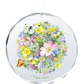 Wild Wings Springtime Posy Round Beveled Edge Glass Ornament