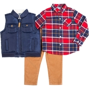 Little Lads Toddler Boys Plaid Shirt, Corduroy Pants and Puffer Vest 3 pc. Set