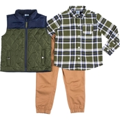 Little Lads Toddler Boys Plaid Shirt, Twill Pants and Puffer Vest 3 pc. Set