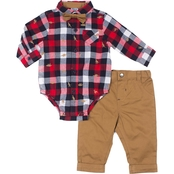 Little Lads Infant Boys Dinosaur Plaid Bodysuit, Pants and Bow Tie 3 pc. Set