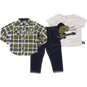 Little Lads Toddler Boys Dino Rock Tee, Woven Shirt and Denim Pants 3 pc. Set