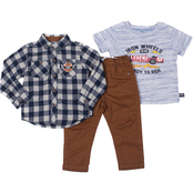 Little Lads Toddler Boys Iron Wheels Racecar Tee, Woven Shirt and Pants 3 pc. Set