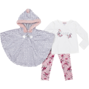 Little Lass Little Girls Sequinned Faux Fur Poncho, Top and Leggings 3 pc. Set