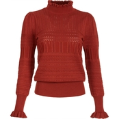 Almost Famous Juniors Fine Gauge Pointelle Mock Neck Ruffle Sweater