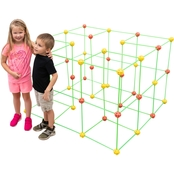 Funphix Orange and Yellow Ball 154 pc. Fort Building Set with Storage Bag