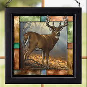 Wild Wings In His Prime Whitetail Deer Square Stained Art Glass 9 x 9