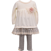 Bonnie Jean Infant Girls Hacci Lace Top and Leggings 2 pc. Set
