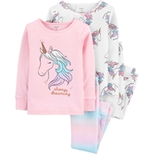 Carter's Infant Girls Unicorn Snug Fit Cotton 4 pc. Pajama Set