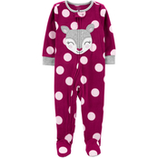 Carter's Infant Girls One Piece Deer Fleece Footie Pajamas