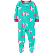 Carter's Infant Girls One Piece Unicorn Fleece Footie Pajamas
