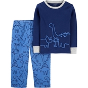 Carter's Infant Boys Dinosaur Snug Fit Cotton and Fleece 2 pc. Pajama Set