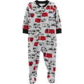 Carter's Infant Boys One Piece Firetruck Fleece Footie Pajamas