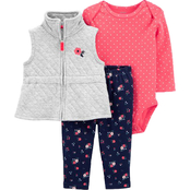 Carter's Infant Girls Quilted Little Vest 3 pc. Set