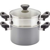 Farberware Go Healthy Covered Saucepot with Steamer Insert 3 qt., Gray