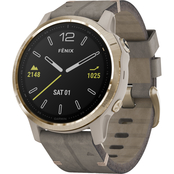 Garmin Fenix 6S Sapphire Gold with Grey Leather Band Multisport GPS Smartwatch