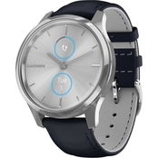 Garmin Men's/Women's vivomove Luxe Navy/Silver Leather Band Smartwatch 010-02241-00