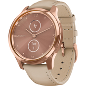 Garmin Men's/Women's vivomove Luxe Rose Goldtone Leather Smartwatch 010-02241-01