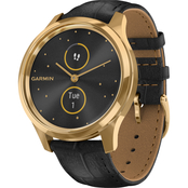 Garmin Men's/Women's vivomove Luxe Goldtone Leather Band Smartwatch 010-02241-02