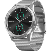Garmin Men's/Women's vivomove Luxe Silver/Black Milanese Smartwatch 010-02241-03