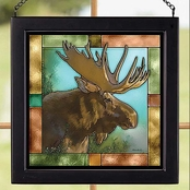 Wild Wings Moose Bust Square Stained Art Glass 9 x 9
