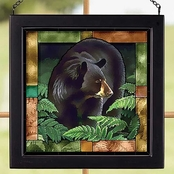 Wild Wings Black Bear Square Stained Art Glass 9 x 9