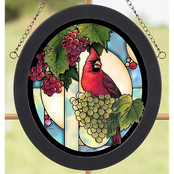 Wild Wings Cardinal with Grape Vine Oval Stained Art Glass 8 x 9 Oval