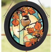 Wild Wings Chickadee Oval Stained Art Glass 8 x 9 in.