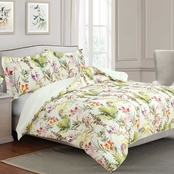 Royale Linens Arboretum Garden Watercolor Floral Leaf Print 3 pc. Comforter Set
