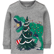 Carter's Toddler Boys Christmas Dinosaur Snow Yarn Jersey Tee