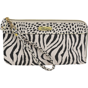 Buxton Tiger and Dots L Zip Wristlet