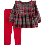 Carter's Infant Girls Plaid Flannel Top and Pants 2 pc. Set