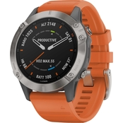Garmin Fenix 6 Sapphire Ti Gray with Orange Band Multisport GPS Smartwatch