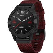 Garmin Fenix 6 Sapphire Black DLC with Red Nylon Band Multisport GPS Smartwatch