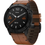 Garmin Fenix 6X Sapphire Black with Brown Leather Band Multisport GPS Smartwatch