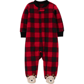 Carter's Infant Boys Buffalo Check Fleece Footie Pajamas