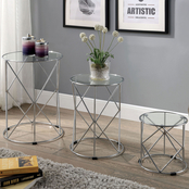Furniture of America Madyson Chrome and Glass 3 pc. Nesting Tables