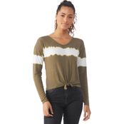 Poof Apparel Junior's Brushed Knot Front Top