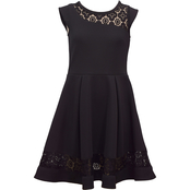 Bonnie Jean Little Girls Black Lace Skater